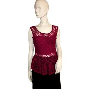 Wet Seal Wine Colored Lace Tank Top Size L